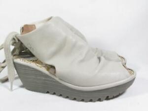 Fly London Yuzu Open Toe Wedge Women size 37 US 6.5-7 Beige Leather