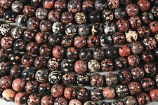"MEXICAN RED SNOWFLAKE  JASPER 10MM ROUND BEADS 16"" STRAND"