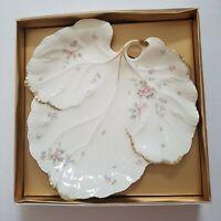Mikasa Ivory Bone China REMEMBERANCE Leaf Shape Large PLATTER Japan Pink Flowers
