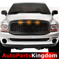 06-08 Dodge RAM Truck Raptor Style Matte Black Mesh Grille+Shell+Amber LED light