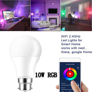 10W RGB Colour Changing Home WiFi Smart LED Light Bulb For Alexa Google