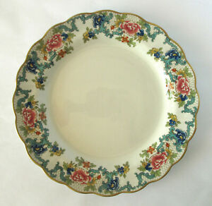 "Royal Doulton ""Booths Floradora"" Scalloped Edge Gold Trim Dinner Plate 25cm"