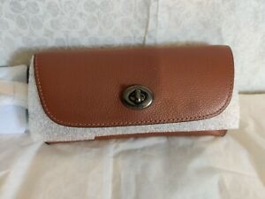 COACH SUNGLASS CASE COLORBLOCK LEATHER REDWOOD TUMERIC NWT 1267 MSRP $98