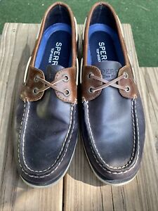 Sperry Mens Top Sider Mens's A/O Leather Closed Toe, Navy Blue/Brown, Size 8M