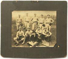 "Antique 1890 BASEBALL Team Photograph ""W.O."" Uniforms EQUIPMENT Pin Striped Hats"
