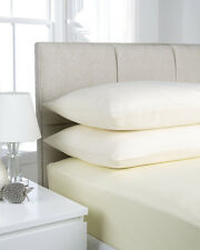 Plain Dyed Microfibre Double Fitted Bed Sheet Cream Natural Fusion Ultra Soft