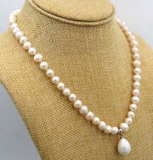 18 zoll 7-8 mm Weiß Süßwasser Perle & 15*18 mm Muschelperle Halskette Anhänger