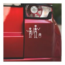 "Skeleton Family Adults and Kids - Halloween Vinyl Decal Sticker |7"" Wide 