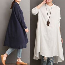 ZANZEA AU10-24 Women Long Sleeve Pullover Tunic Top Blouse Plus Size Short Dress