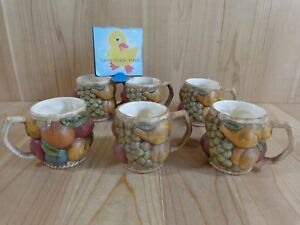 FRUIT MEDLEY Coffee Mugs Set of 6 Bumpy 3D Handmade Pottery Red Yellow Orange