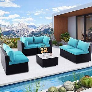 7pc Patio Set Sofa Sectional Chairs Loveseat