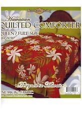 Queen Sz Hawaiian Quilted Quilt Bedding Comforter & 2 Pillow Shams flower red