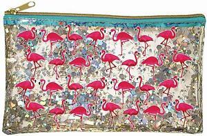 Spoontiques Flamingos Glitter Cosmetic Bag