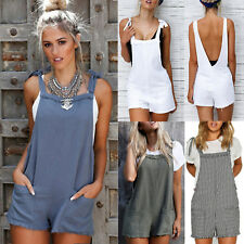 Womens Girls Holiday Mini Playsuit Jumpsuit Summer Beach Dress Shorts Blue