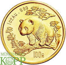 R605) CHINA 100 Yuan 1997 - Panda auf Baumstamm - 1 oz. Gold