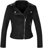 Women's Stylish Notched Collar Oblique Zip Suede Leather Moto Jacket - Black M