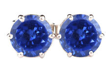 Natural Blue Tanzanite 2.60 Carat Excellent Round Shape Studs In 14KT White Gold