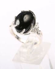 Sterling Silver Ring with Claw Set Oval Black Onyx Stone, Size Q