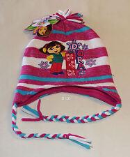 Dora The Explorer Girls Pink White Snowflake Long Side Beanie Size 1 - 3 New