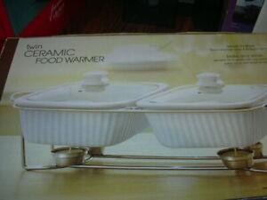 White Twin Ceramic Food Warmer w/ Glass Lids 2 Server 1.8 Qt NIB