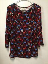 7ac0daee689 Womens Pullover Top Size Large Red Black Blue Multi Dana Buchman 193