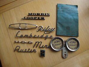 vintage / classic car badges job lot, MINI, RILEY, DESMO,AUSTIN,MORRIS,CAMBRIDGE