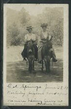 CO Colorado Springs RPPC 1907 TWO YOUNG WOMEN Teens RIDING DONKEYS One of Kind