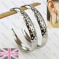 LARGE 7cm BIG HOOPS silver fashion EARRINGS crystal RHINESTONE white gold plated