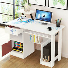 Small White Computer Desk Cabinet Drawer Shelves Office Home Study Corner Table