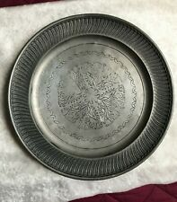 Vintage Pewter Plate - wall hanging. Great design and pattern. Hallmarked.