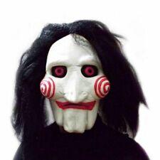 Latex Saw Billy Mask Puppet Full Head Halloween Tobin Bell Jigsaw Mask Blac Hair