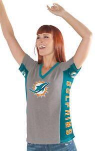 "Miami Dolphins Women's G-III NFL ""#1 Fan"" V-neck Cap Sleeve T-shirt"