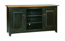 """TELEVISION STAND MEDIA CENTER  60"""" Custom Finished Maple Top Primitive Amish"""