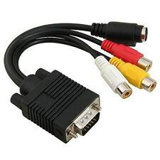 Cable VGA VERS RCA S-VIDEO PC TV ADAPTATEUR ECRANS LCD NOIR