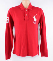 POLO RALPH LAUREN Men's BIG PONY Long Sleeve Custom Fit Polo Shirt, Red, size S