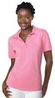 Hanes Women's ComfortSoft Hemmed Short Sleeves Welt Knit Collar Polo Shirt. 035