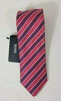 HUGO BOSS BLACK LABEL SILK STRIPED TIE PINK  MADE IN ITALY#50262245-NWT