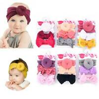 3PC Kids Baby Girls Toddler Bow Hair band Headband Stretch Turban Knot Head Wrap