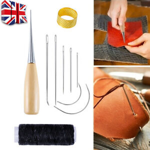 7Pcs Sewing Drilling Needles Thimble Stitching Leather Waxed Thread Cord Sew UK
