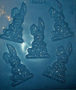 FIVE CUTE FLOPPY EARED RABBITS EASTER CHOCOLATE MOULD