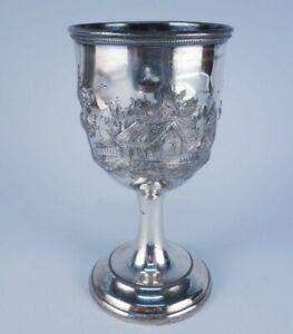 Antique 19c American Silver Sp Hand Chased Cottage Landscape Goblet