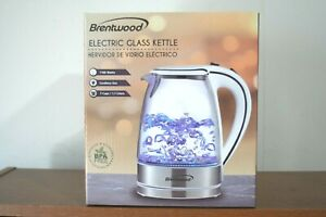 BRAND NEW Brentwood KT-1900 1.7L Cordless Electric Glass Kettle White New in Box