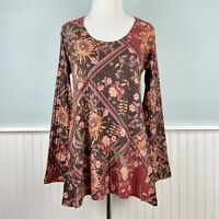 Size XS Soft Surroundings Red Floral Tunic Top Shirt Blouse New Extra Small