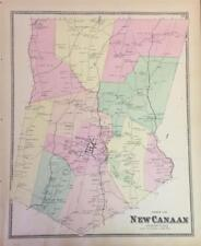 Antique Map New Canaan, Connecticut - FW Beers Atlas of NY and Vicintity 1867