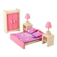 Mini Children Wooden Doll House Furniture Kids Bedroom D4H7