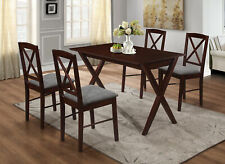 Kings Brand - Beverly 4-Piece Cappuccino Wood Dining Room Set, Table & 4 Chairs