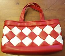 Specially Hand Made by Lill Pearson, Red/White, Faux Leather, Satchel (1960s)