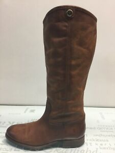 FRYE Melissa Button 2 Redwood Leather Pull On Tall Boots Women's Size 8.5 B.⭐️