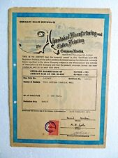Scripophily Share Certificate ink sign Ahmedabad Manufacturing & Calico Print