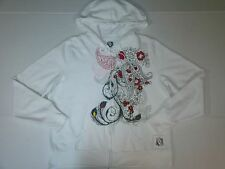 Juniors Size XL Full Zip Hoodie Pockets Drawstring Floral Feather Paisley Front
